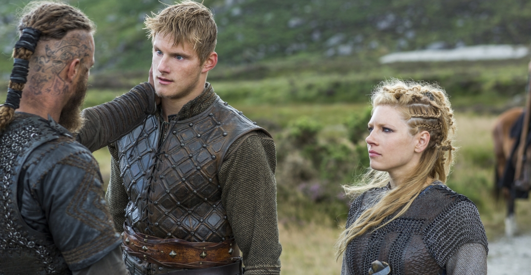 Travis Fimmel as Ragnar, Katheryn Winnick as Lagertha, Alexander Ludwig as Bjorn