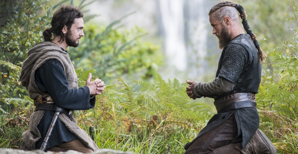 George Blagden as Athelstan, Travis Fimmel as Ragnar