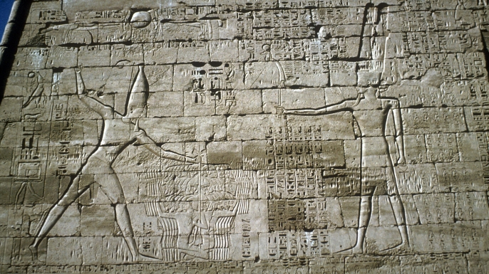 Relief of Rameses III defeating the Sea People (Credit: CM Dixon/Print Collection/Getty Images)