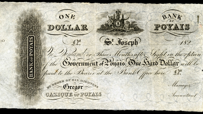 "Dollar Bill from ""Bank of Poyais"""