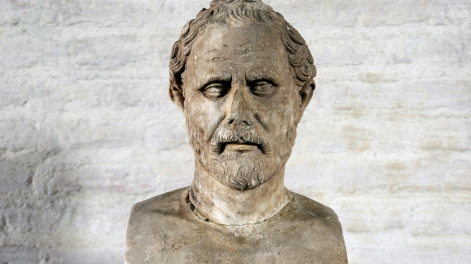 list 8 Historical Figures with Unusual Work Habits Demosthenes (384-322 BC). Roman bust.