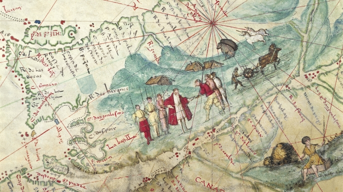 Map of 16th-century exploration in Canada (Credit: DEA PICTURE LIBRARY/De Agostini/Getty Images)
