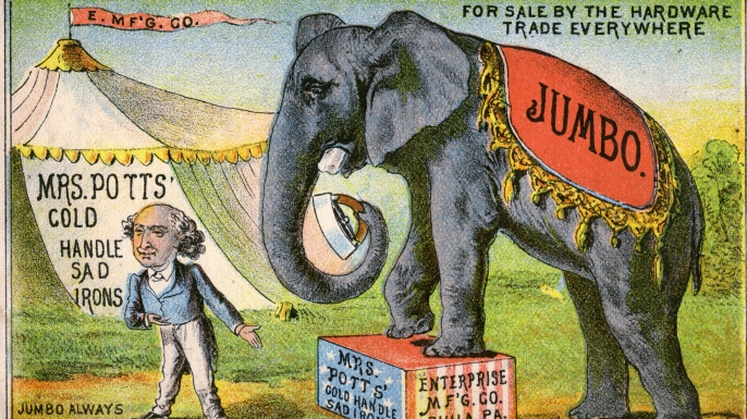 P.T. Barnum trading card featuring Jumbo (Credit: Transcendental Graphics/Getty Images)