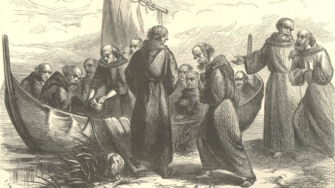 Depiction of St. Brendan voyaging to his isle