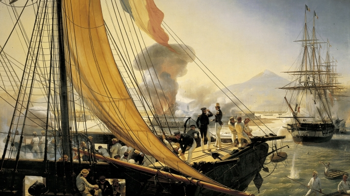 Picture of the taking of citadel San Juan de Ulua. (Credit: Getty Images)