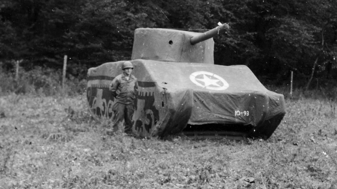 Dummy Allied tank (Credit: Barcroft Media via Getty Images)