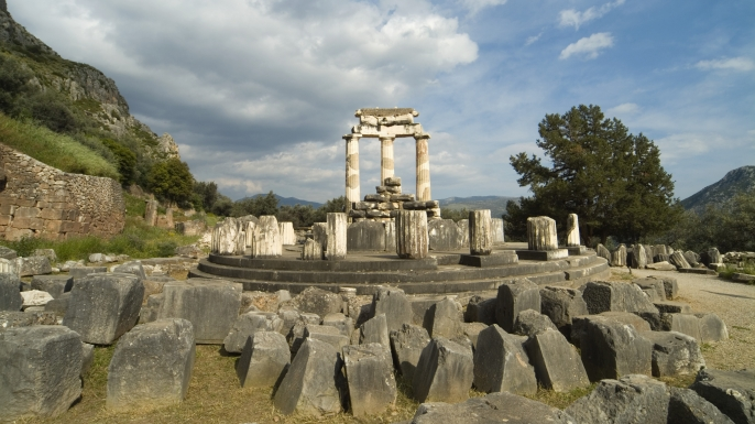 The sanctuary of Athena Pronaia at Delphi, a major Greek archaeological site.