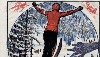 Illustration of ski jumping event at 1924 Winter Olympics