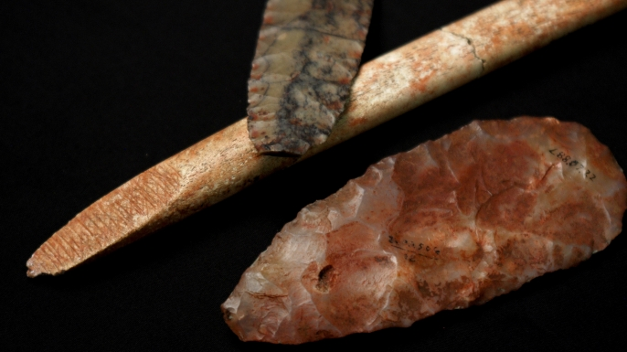 Clovis-era tools originally discovered along with the remains of a 1-year-old boy at a burial site in western Montana in 1968.
