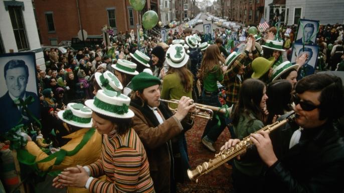 Revelers celebrate St. Patrick's Day in Boston.