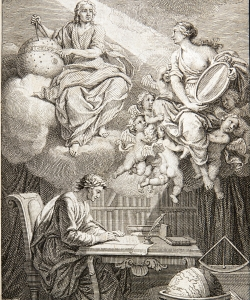 Illustration of Voltaire translating the work of Isaac Newton