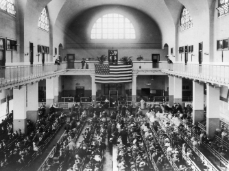 Ellis Island's Great Hall (Credit: Fotosearch/Getty Images)