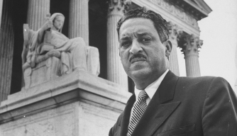 NAACP chief counsel Thurgood Marshall outside the Supreme Cour