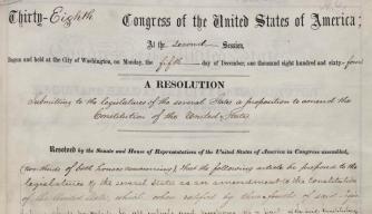 The 13th Amendment, bearing Lincoln's signature