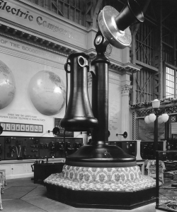 A giant model of a telephone on display (Credit: Cardinell-Vincent/FPG/Hulton Archives/Getty Images)