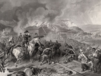 """Engraving depicting Sherman's """"march to the sea"""""""