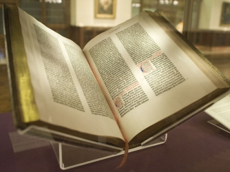 A copy of the Gutenberg Bible in the collection of the New York Public Library