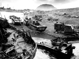 Destruction on the beach at Iwo Jima