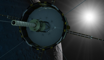 An artist's rendering depicts the satellite ISEE-3/ICE during its planned lunar fly-by in August 2014