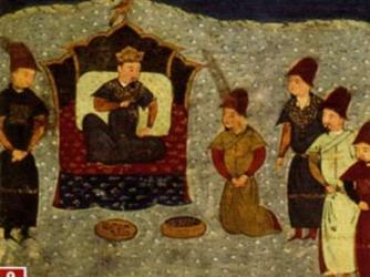 Batu Khan on the throne of the Golden Horde