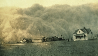 A dust storm approaches Stratford, Texas in April, 1935.