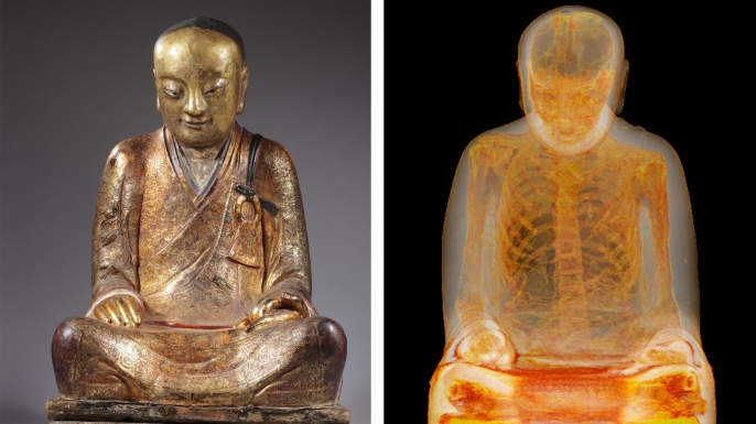 The Buddha alongside an image from an earlier CT scan.