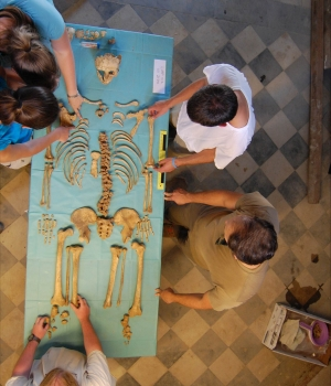 Students examine the skeleton of a young man excavated at Badia Pozzeveri. (Credit: Ohio State University)
