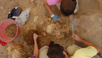 Students excavate remains buried at Badia Pozzeveri cemetery.