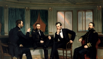 """The Peacemakers,"" by artist George P.A. Healy, depicts the March 1865 meeting between William T. Sherman, Ulysses S. Grant, Abraham Lincoln and David D. Porter."