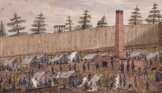 The Union mapmaker Robert Knox Sneden, who was imprisoned at Camp Lawton, painted several watercolors depicting the stockade and kept a journal chronicling the grim conditions there