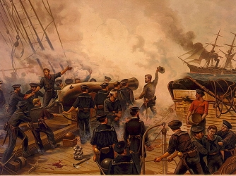 On board USS Kearsage during the June 19,1864 clash with CSS Alabama