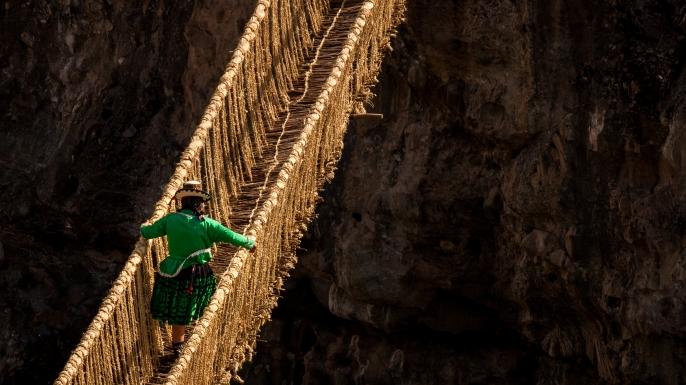 The Qeswachaka Bridge, which spans the Apurímac River canyon along the Qhapaq Ñan
