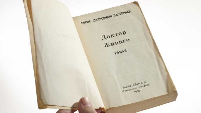 "A pocket-sized edition of ""Doctor Zhivago"" printed by the CIA, but attributed to a fictitious French publisher."