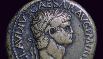 A 1st century Roman coin depicting Emperor Claudius