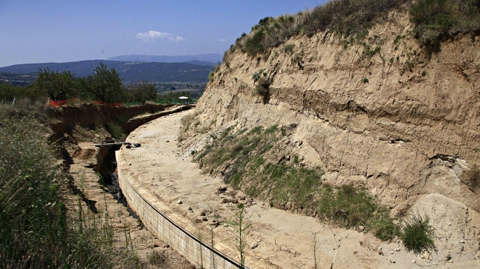 Partial view of excavation site in Amphipolis, Greece