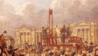 A depiction of Louis XVI's execution by the guillotine.
