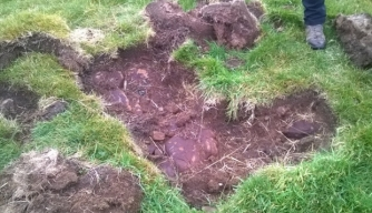 One of many illegal excavations along Hadrian's Wall (Credit: English Heritage)