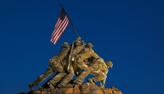 The Marine Corps War Memorial, or Iwo Jima Memorial, in Arlington, Virginia