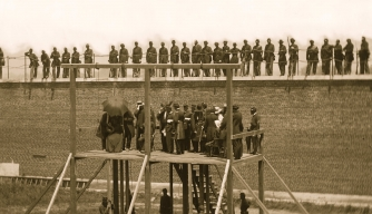 Execution of the Lincoln Assassination conspirators, July 7, 1865.