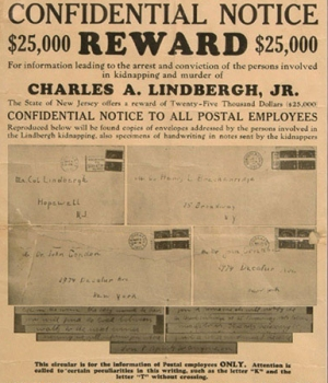 Lindbergh baby reward poster