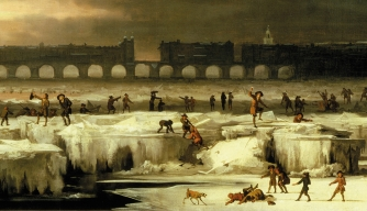 Merrymakers skate on the frozen River Thames in this 1677 painting by Abraham Hondius.