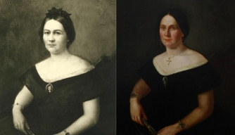 On left, a portrait thought to be of Mary Todd Lincoln. At right, the real portrait after it was restored, depicting an unknown woman.