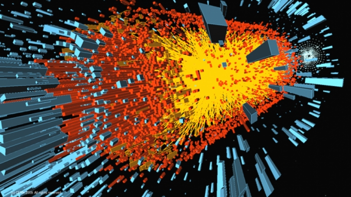 A computer simulation of an ion collision in the Large Hadron Collider, a simulation of the events immediately after the Big Ban.