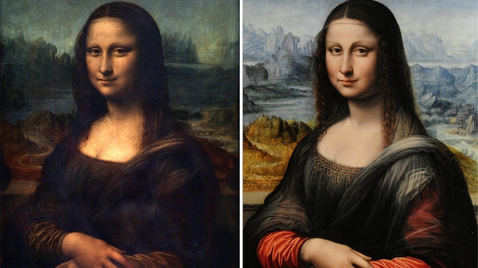"A side-by-side comparison of the original ""Mona Lisa"" (left) and a copy thought to have been painted at the same time as the original (right)."