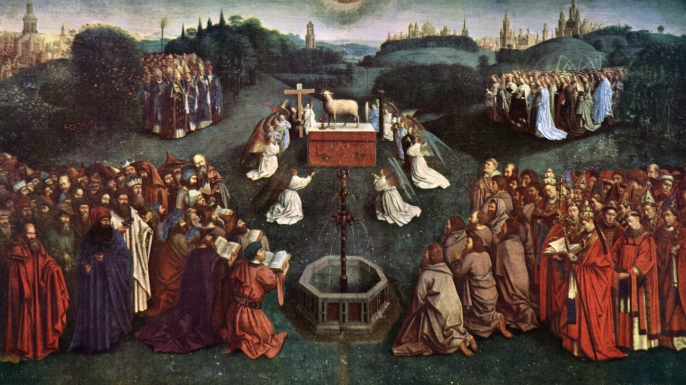 "The central panel of Hubert and Jan Van Eyck's Ghent Altarpiece, also known as the ""Adoration of the Mystic Lamb,"" one of the more than five million pieces of art rescued by members of the ""Monuments Men"" unit."