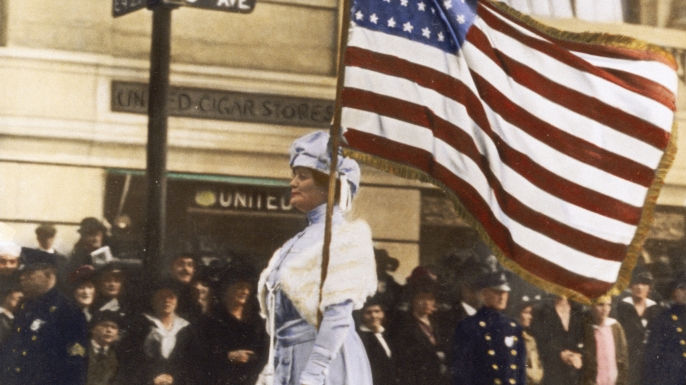 A suffragist demonstrates in Manhattan in the mid-1910s.