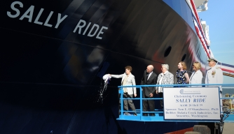 Navy Christens Research Ship Named for Sally Ride