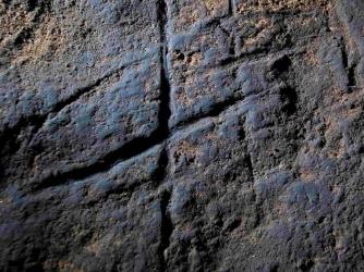 Rock engraving found inside Gorham's Cave (Credit: Stewart Finlayson)