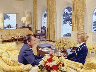 Richard and Pat Nixon in the living room at San Clemente, 1971 (Credit: National Archives)
