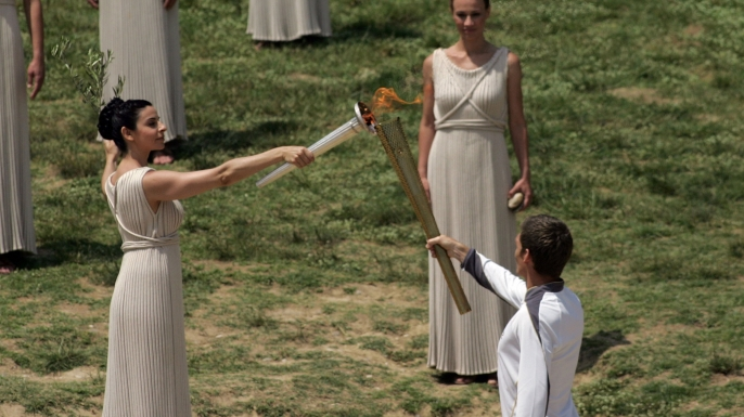 The Olympic flame is lit in Olympia, Greece, on May 10, 2012, before embarking on its journey to Britain.